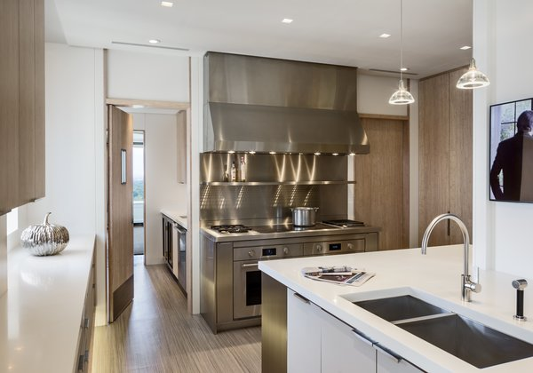 Kitchen: View of Custom Stainless Steel Cooking Station