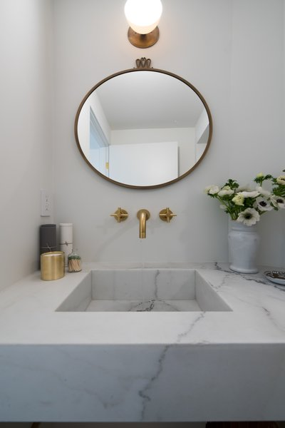 Stone, Marble, Stone Slab, One Piece, White, Wood, Front Yard, Recessed, Wood Burning, Coffee Tables, Ceramic Tile, Wall, and Bath  Best Bath Wood Photos from The Oaks on Whitman
