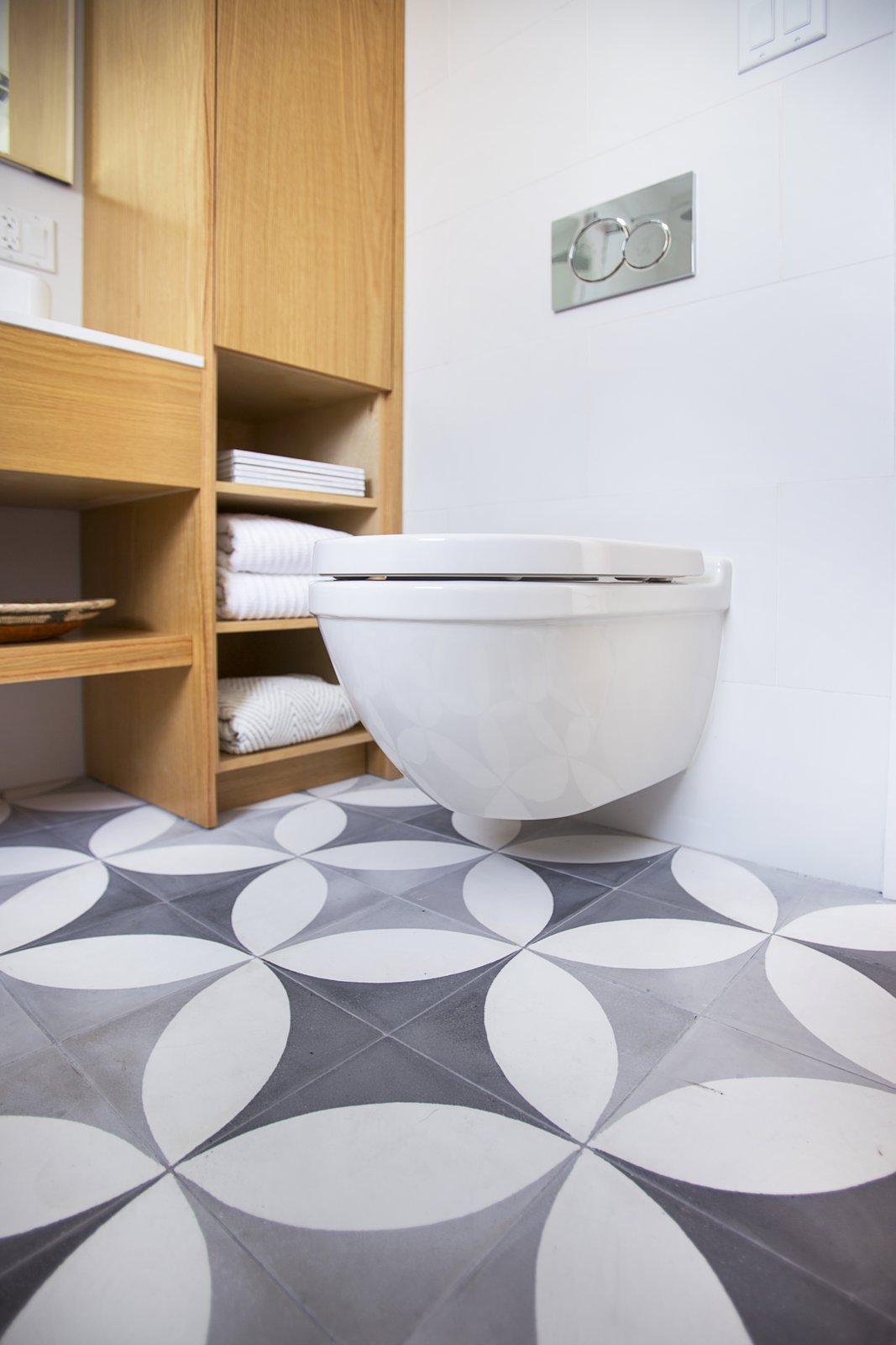 Bath Room, Engineered Quartz Counter, Concrete Floor, One Piece Toilet, Vessel Sink, and Ceramic Tile Wall  Silverlake on Riverside Terrace