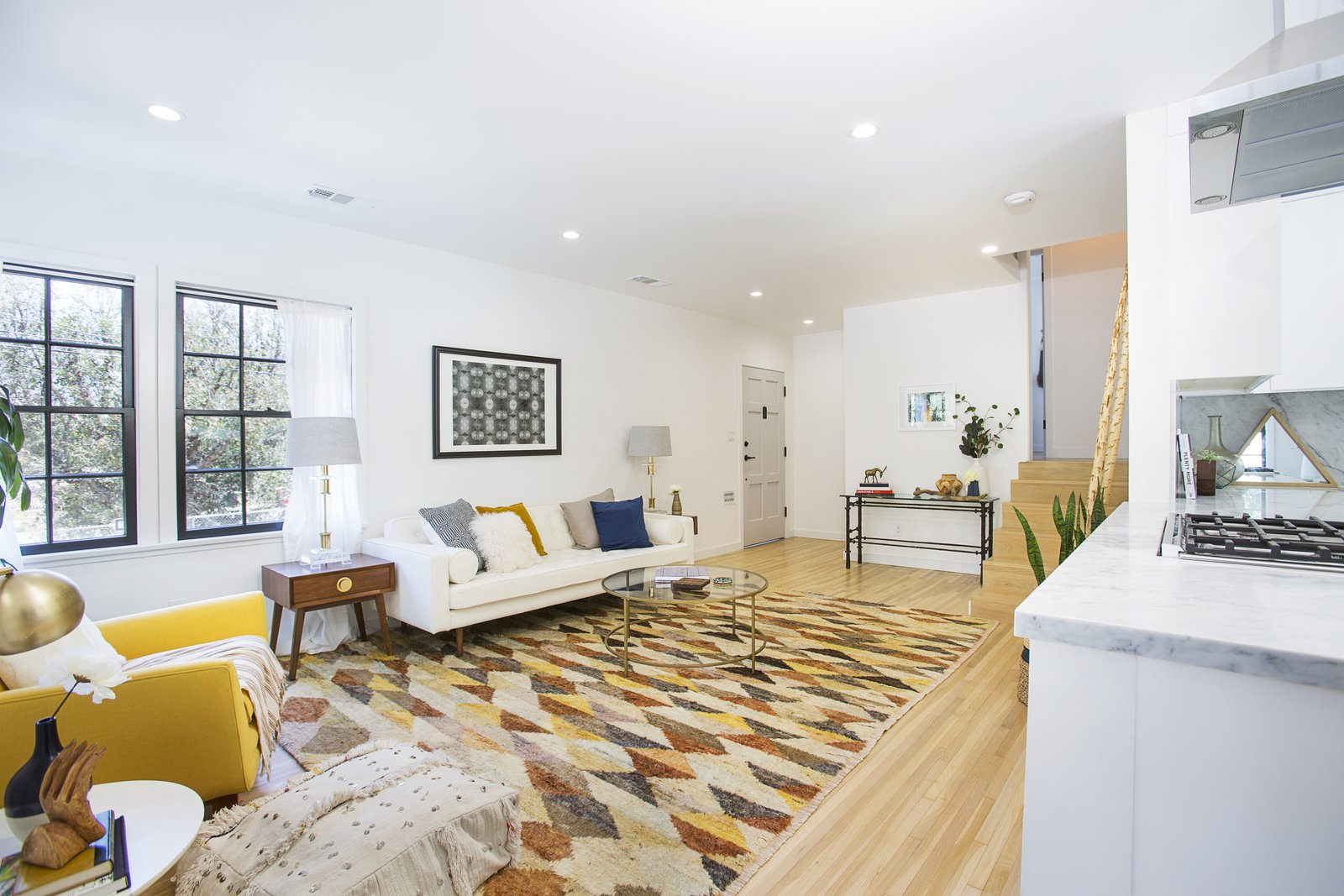 Living Room, End Tables, Recessed Lighting, Sofa, and Ceiling Lighting  Silverlake on Riverside Terrace