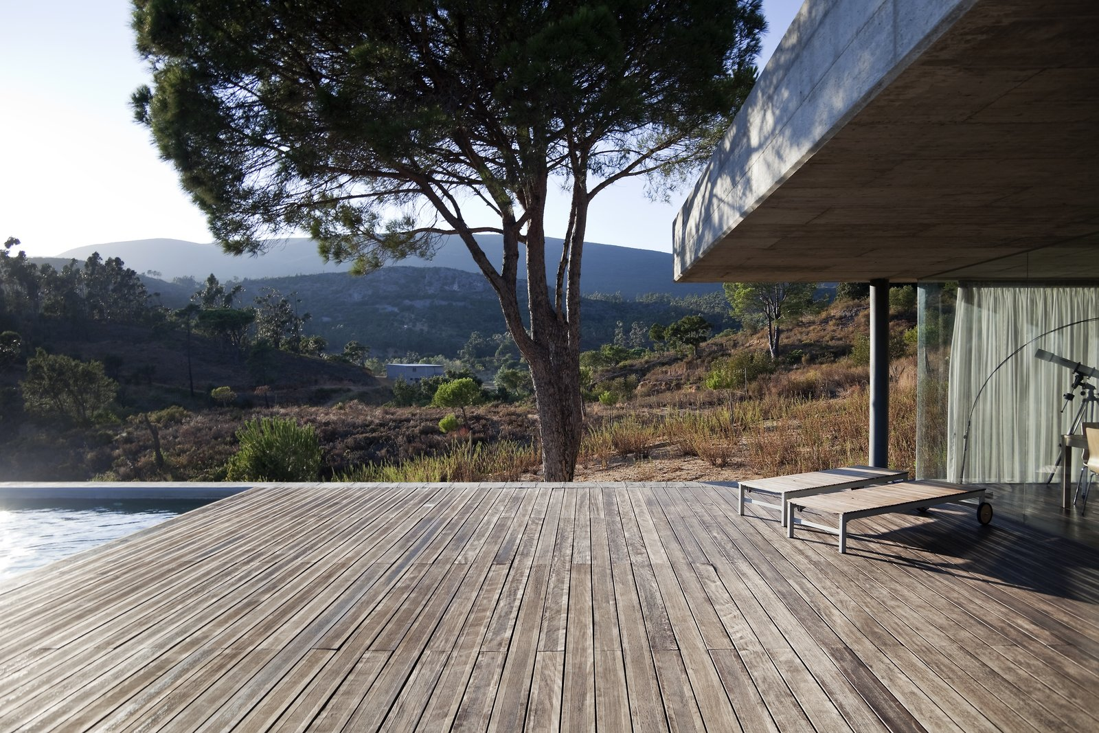 Outdoor, Wood Patio, Porch, Deck, Trees, Large Pools, Tubs, Shower, Back Yard, and Large Patio, Porch, Deck  House in Pedrogão