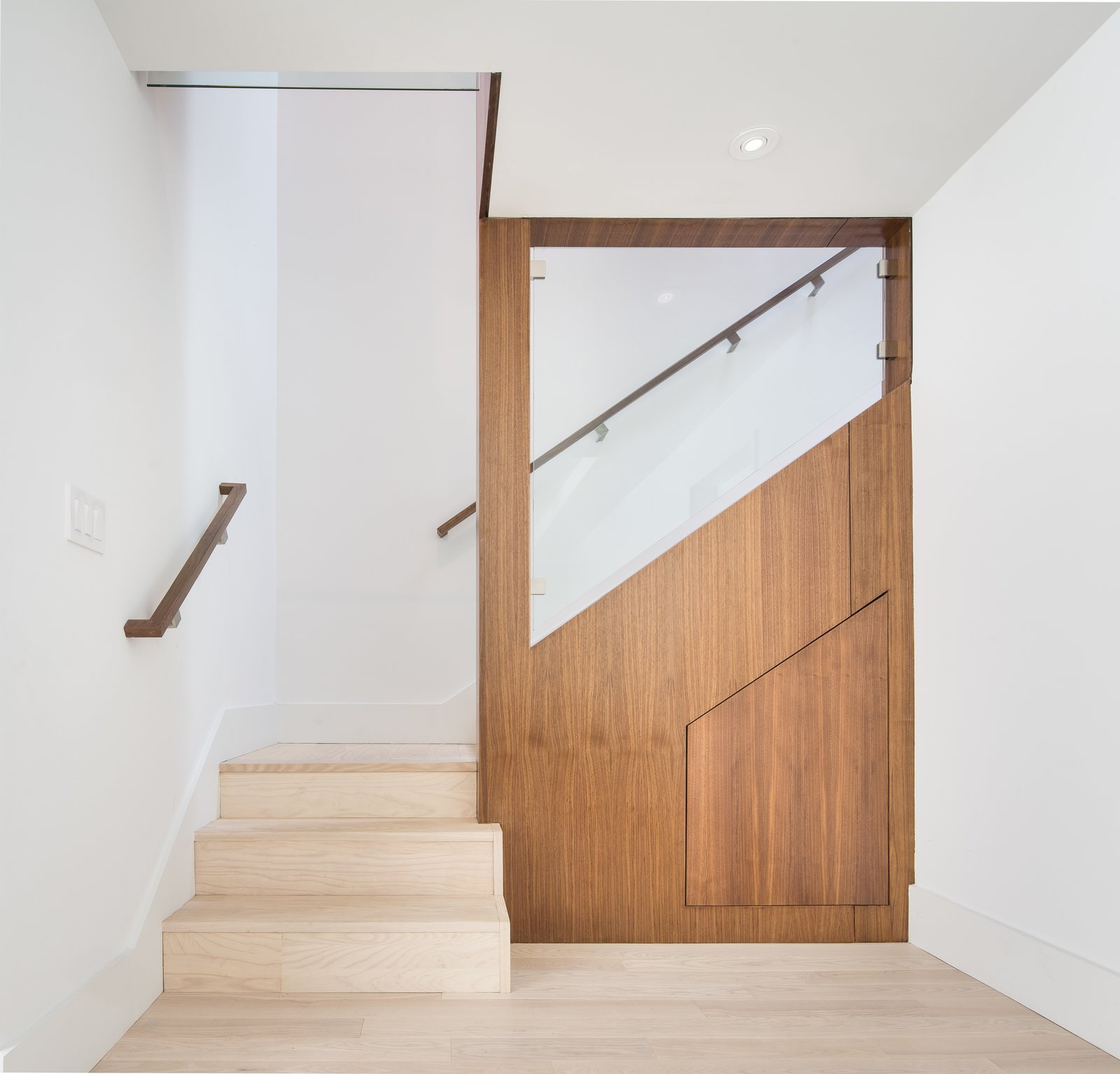Back Yard, Glass, Hardscapes, Small, Horizontal, Wood, Engineered Quartz, Wood, White, Light Hardwood, Ceramic Tile, Ceiling, Recessed, Accent, Refrigerator, Range, Range Hood, Dishwasher, Undermount, and Staircase  Best Staircase Small Light Hardwood Photos from 30th Street Residence