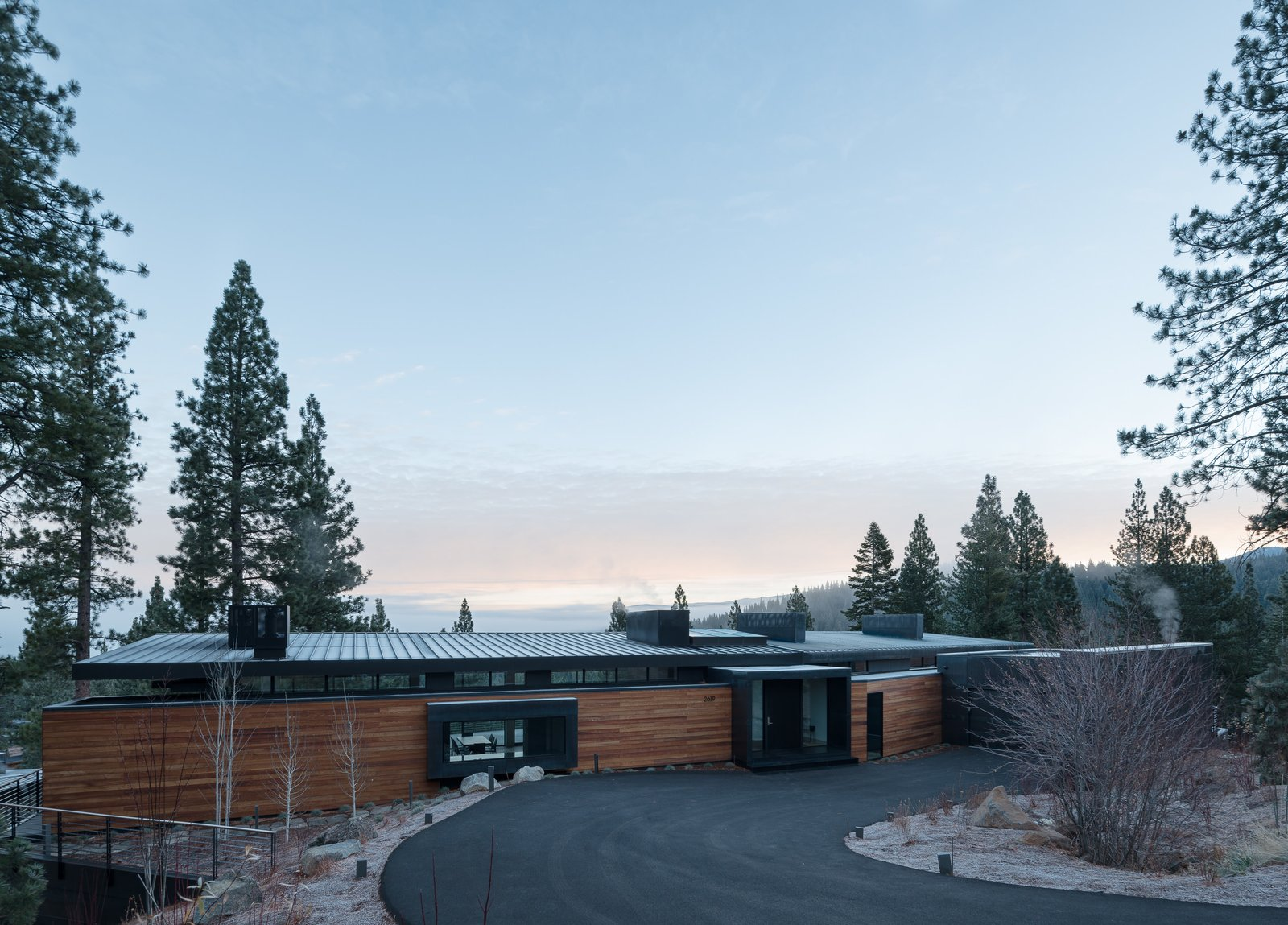 Outdoor, Front Yard, Trees, Shrubs, and Boulders  Martis Camp Residence 2 by John Maniscalco Architecture