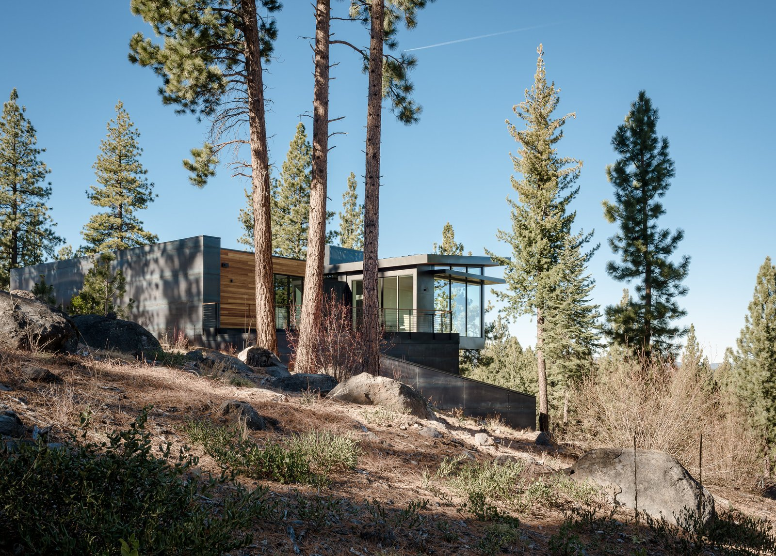 Outdoor, Trees, Shrubs, Side Yard, Flowers, and Boulders  Martis Camp Residence 2 by John Maniscalco Architecture