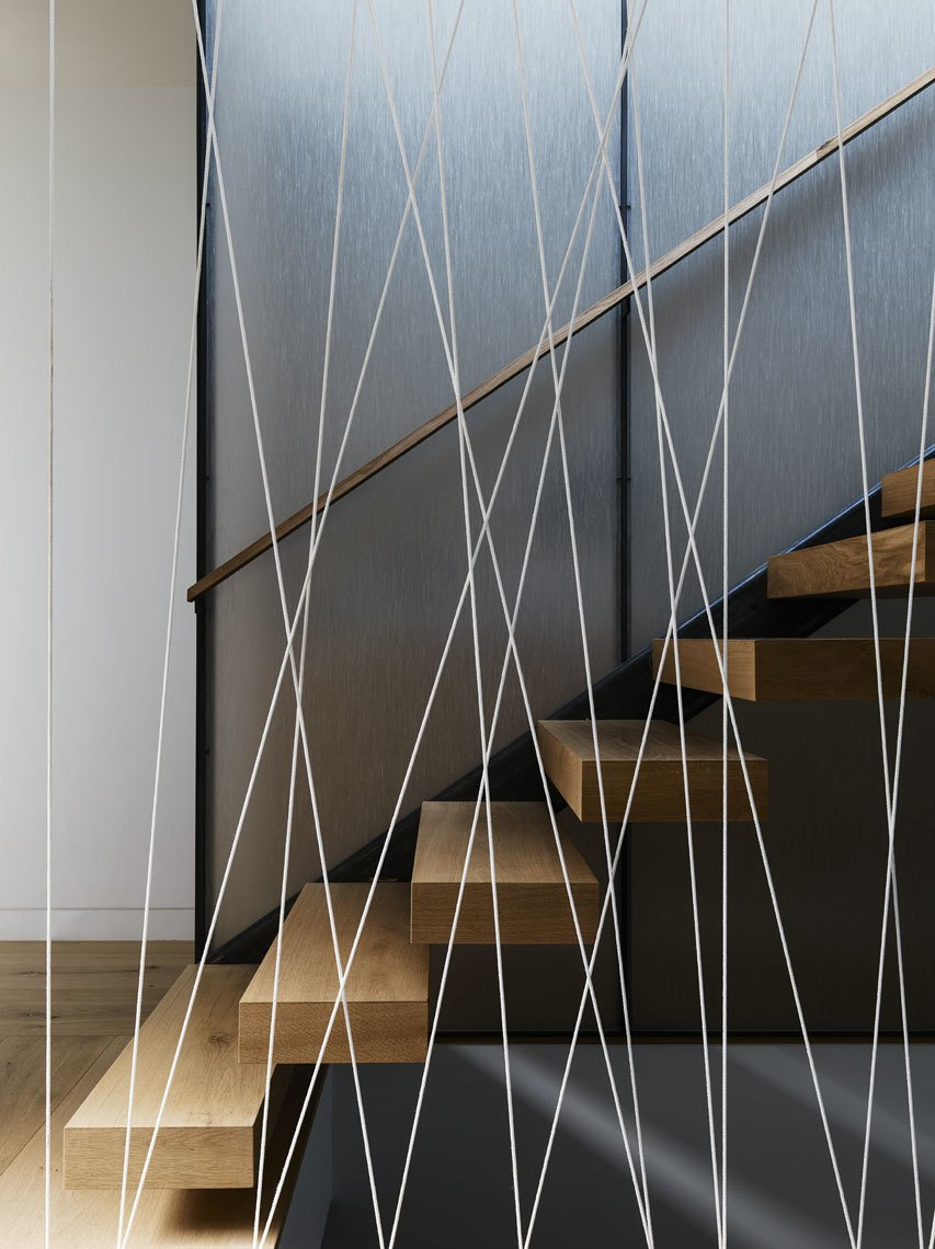 Staircase, Wood Tread, and Cable Railing  Spruce by John Maniscalco Architecture
