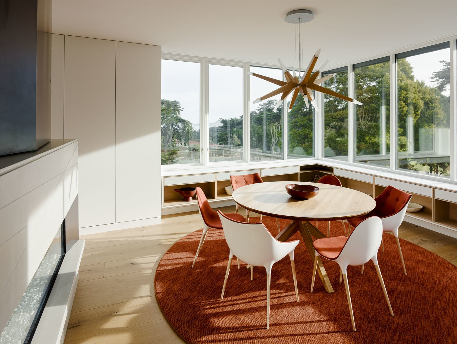 Dining, Chair, Ceiling, Light Hardwood, Ribbon, Table, Pendant, and Gas Burning  Best Dining Light Hardwood Chair Gas Burning Photos from Spruce