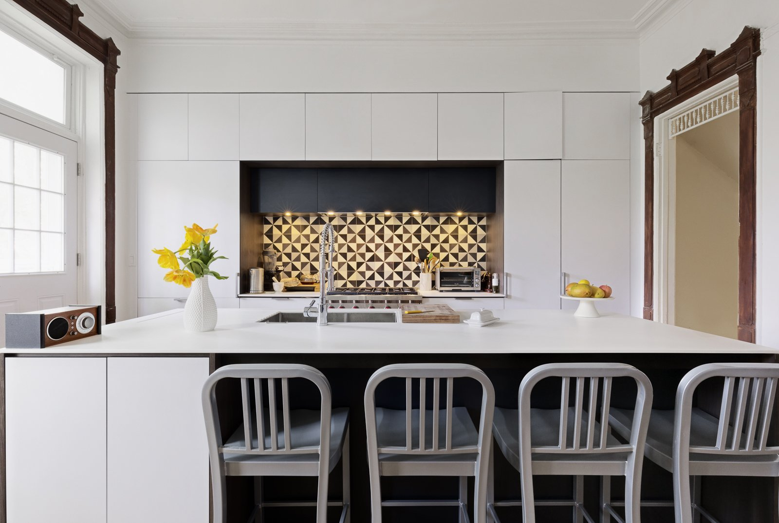 Tagged: Kitchen and White Cabinet.  Best Photos from Creative Townhouse kitchen and bath (Sweeten project)