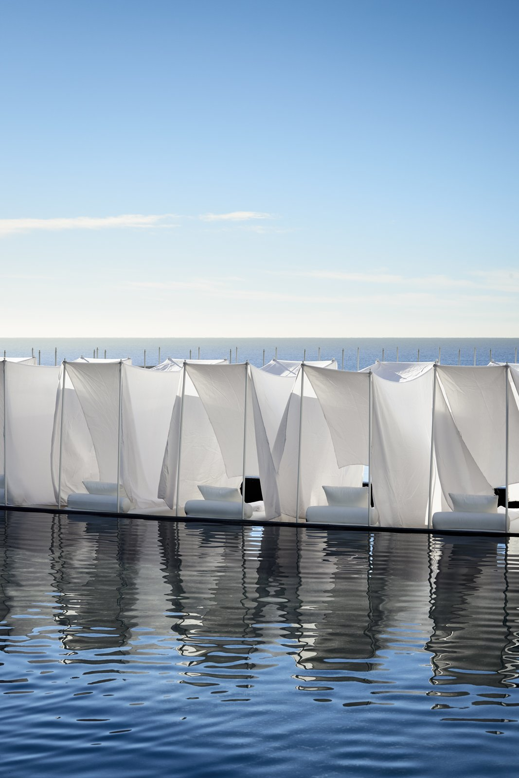 Outdoor, Large Pools, Tubs, Shower, and Swimming Pools, Tubs, Shower Exterior furnishings by Exeta form an outdoor oasis.  Photo 6 of 12 in An Exquisite Beach Resort on Baja California Sur Lies Where the Water Meets the Horizon
