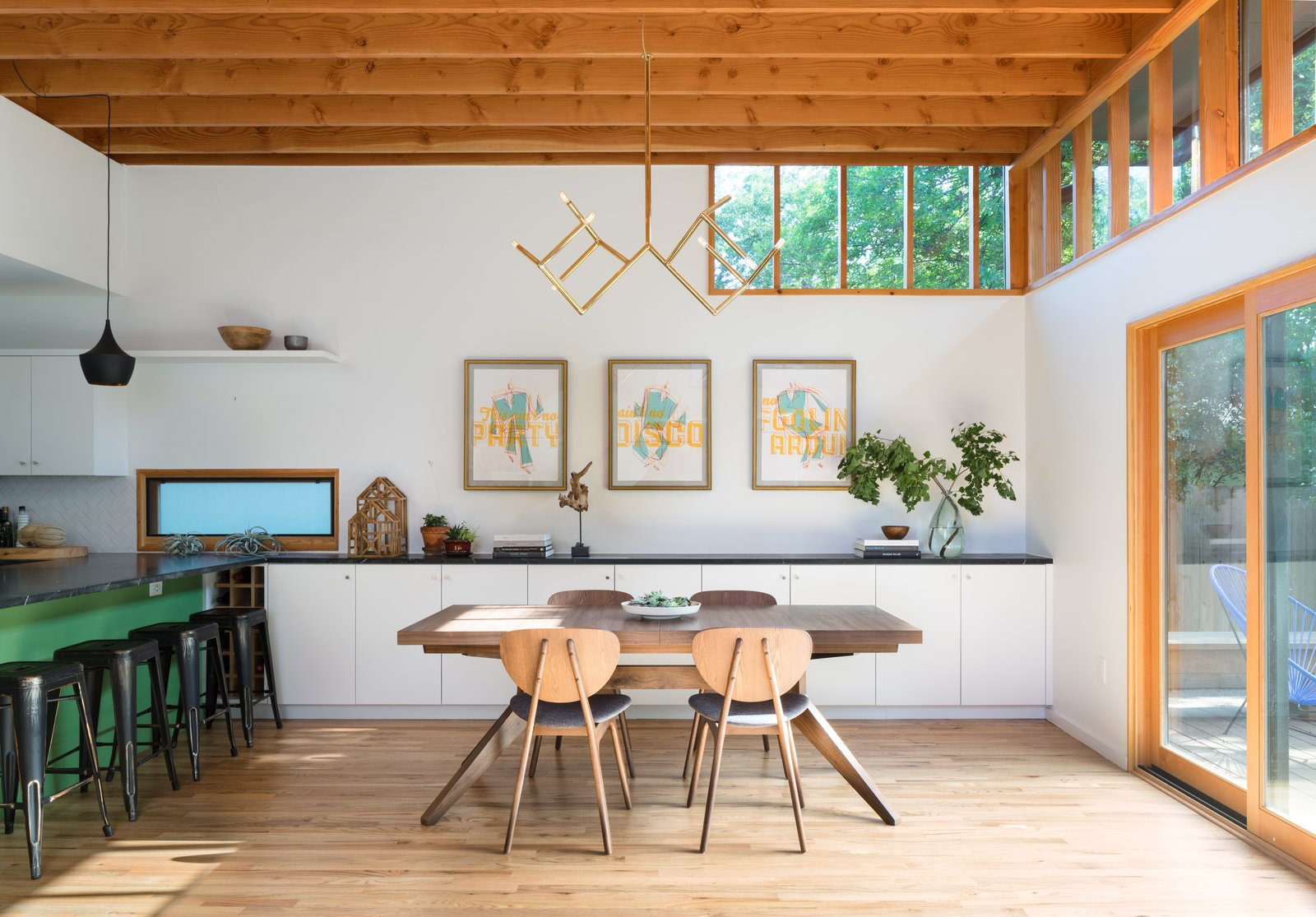 Dining, Pendant, Table, Accent, Storage, Chair, and Medium Hardwood  Best Dining Accent Medium Hardwood Table Pendant Photos from Bringing Light Into a Modest 1940s Bungalow in Austin