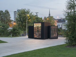 Toronto's Story Pod Doubles as a Lending Library and Community Hub - Photo 6 of 7 - Views of Newmarket, the Victorian-era suburb of Toronto, are framed and visible from the interior of the Story Pod.