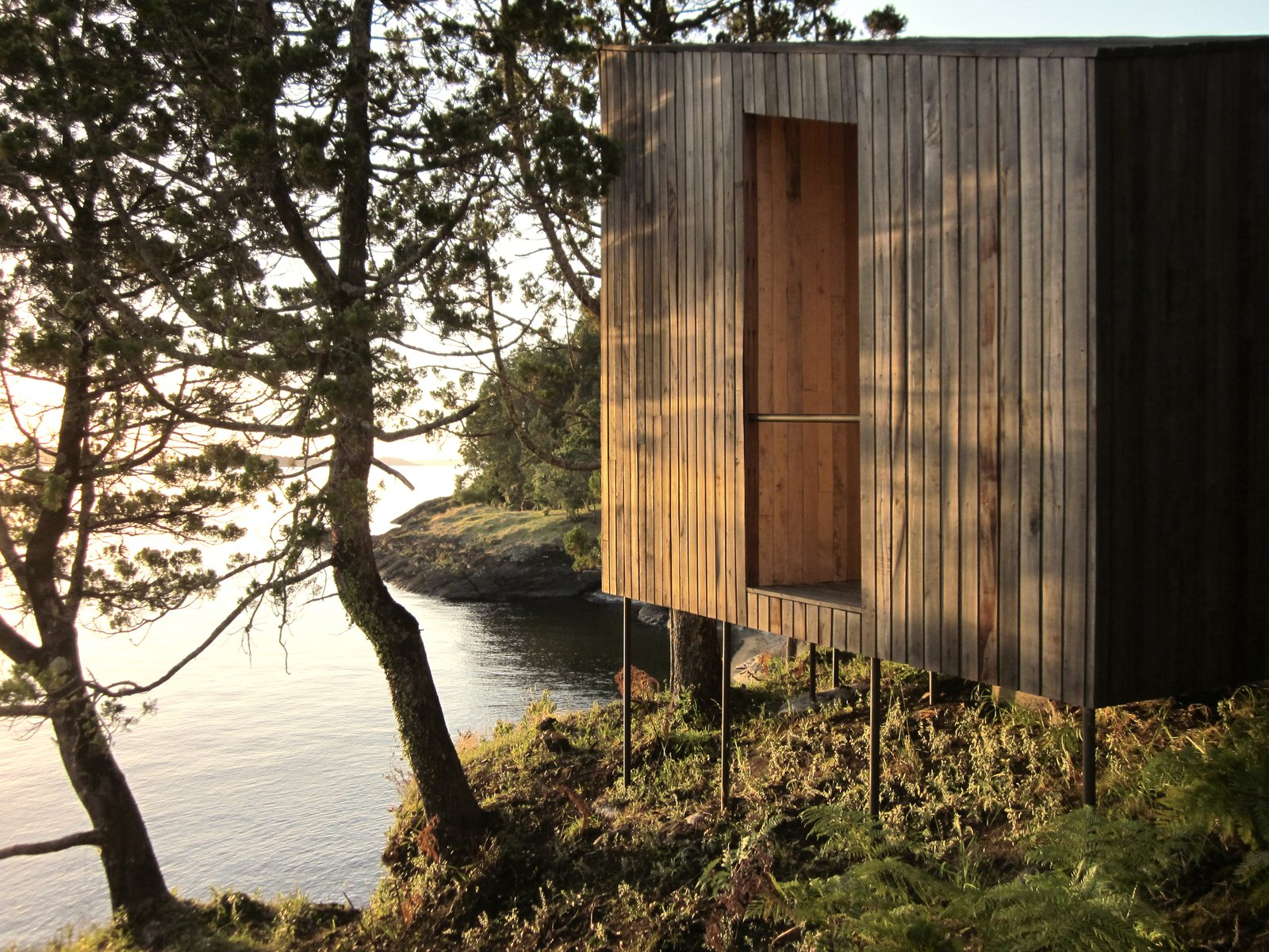 Photo 9 of 9 in A Timber-Clad Sauna in Chile Angles For Lakeside Views