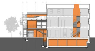 A diagrammatic building section displays, in orange, the spaces that have been modified, including the two-story modern addition, the crawlspace of the existing home, and a light-filled atrium that spills daylight into the historic home.
