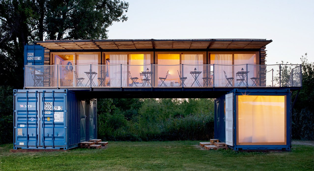 Exterior, Shipping Container Building Type, Metal Roof Material, Flat RoofLine, Metal Siding Material, and Glass Siding Material  Photo 4 of 7 in 6 Modern Hotels Around the World Made Out of Shipping Containers from A Mobile Boutique Hotel For the Modern Traveler Made From Shipping Containers