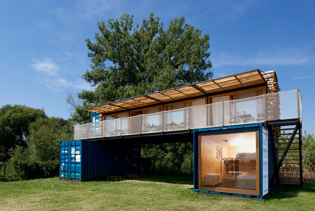 Exterior, Wood Siding Material, and Metal Siding Material  Photo 2 of 15 in A Mobile Boutique Hotel For the Modern Traveler Made From Shipping Containers
