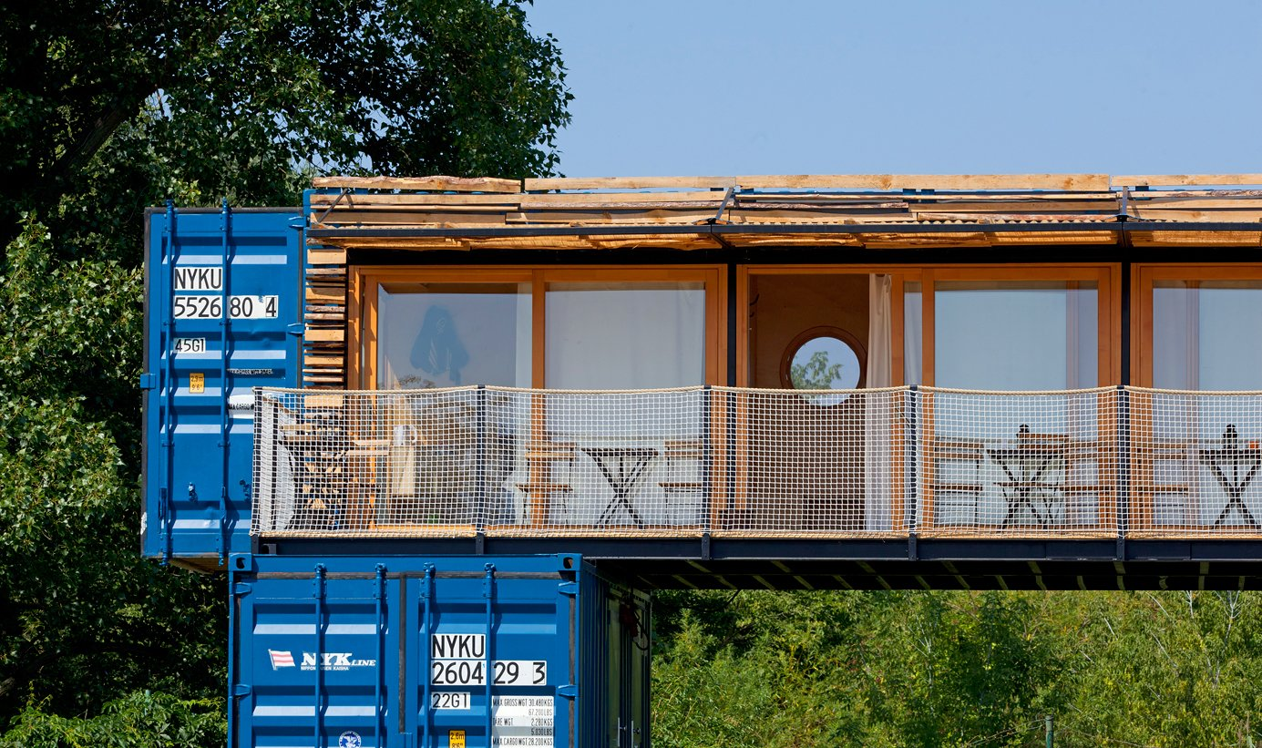 Exterior and Wood Siding Material  Photo 3 of 15 in A Mobile Boutique Hotel For the Modern Traveler Made From Shipping Containers