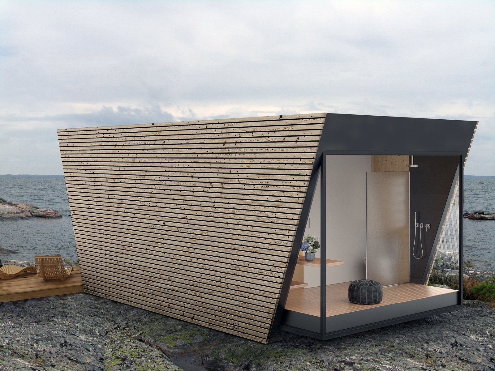 Wood Siding Material, Outdoor, Boulders, Small Patio, Porch, Deck, and Wood Patio, Porch, Deck  Photo 3 of 9 in This Modular Eco-Hotel Room Is Poised to Drop Into Nearly Any Setting