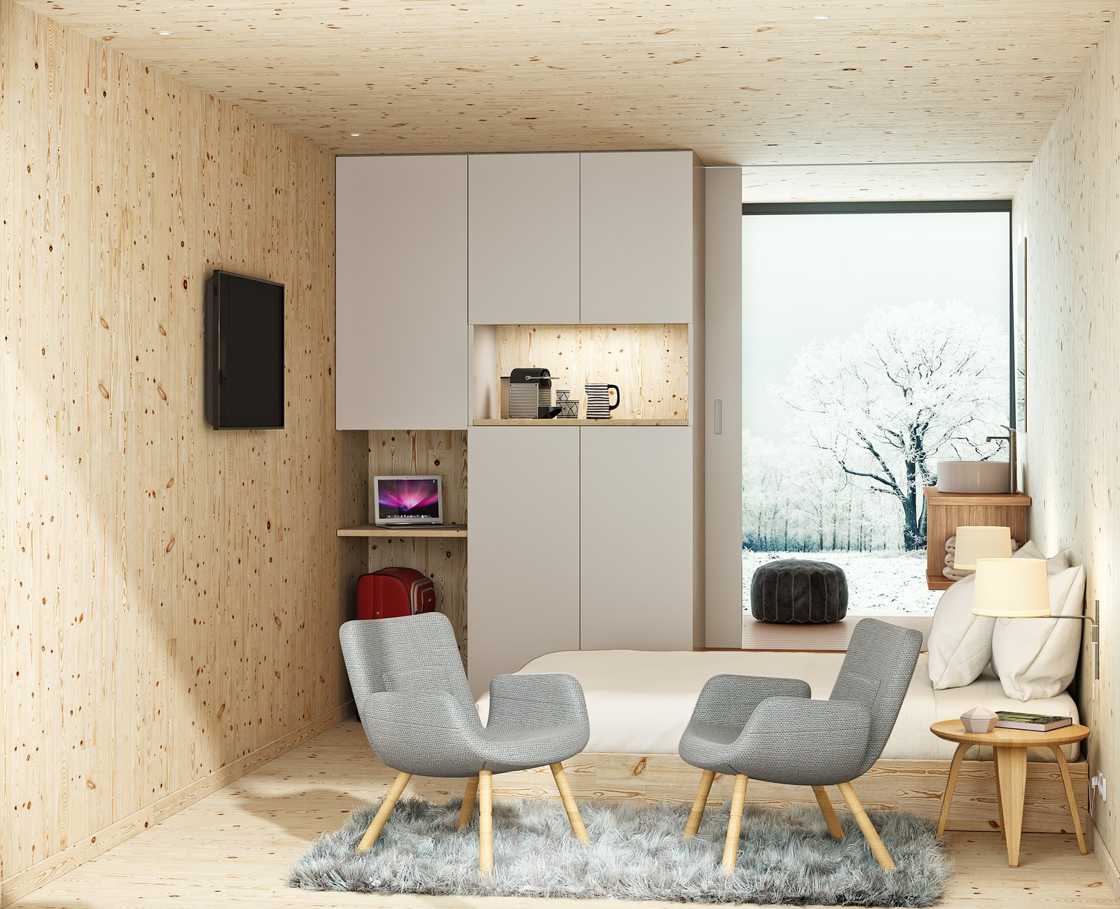 Chair, Bedroom, Bed, Night Stands, Storage, Wall Lighting, Plywood Floor, and Light Hardwood Floor  Photo 7 of 9 in This Modular Eco-Hotel Room Is Poised to Drop Into Nearly Any Setting