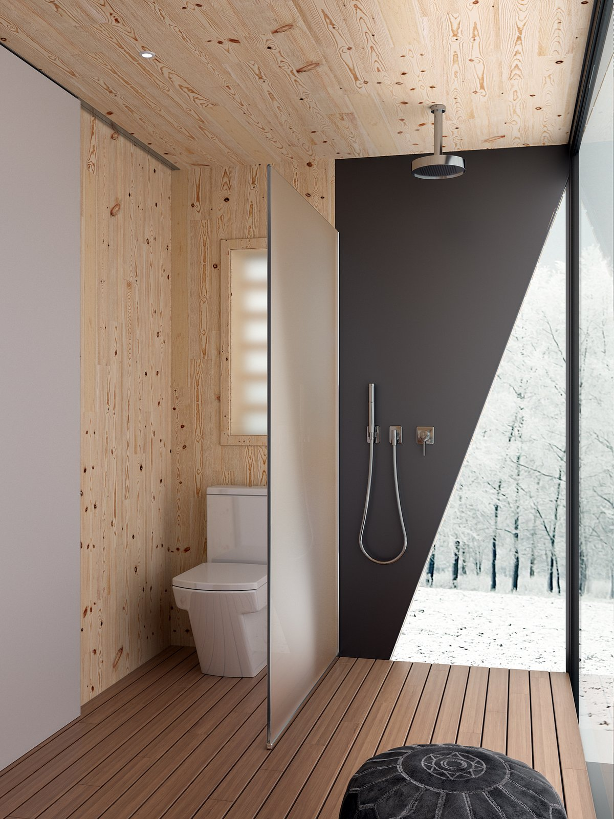 Bath Room, Medium Hardwood Floor, Open Shower, Ceiling Lighting, Recessed Lighting, and One Piece Toilet  Photo 9 of 9 in This Modular Eco-Hotel Room Is Poised to Drop Into Nearly Any Setting