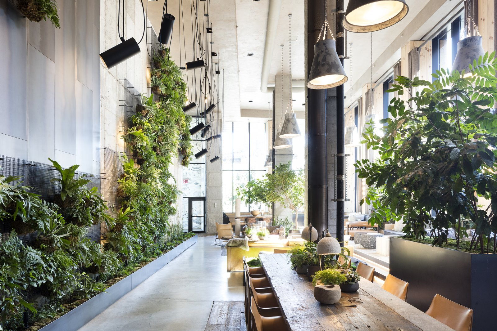 Chair, Pendant Lighting, Accent Lighting, Ceiling Lighting, Concrete Floor, Dining Room, and Table  Photo 4 of 7 in Check Out This Brooklyn Hotel's Dramatic Living Wall Installation