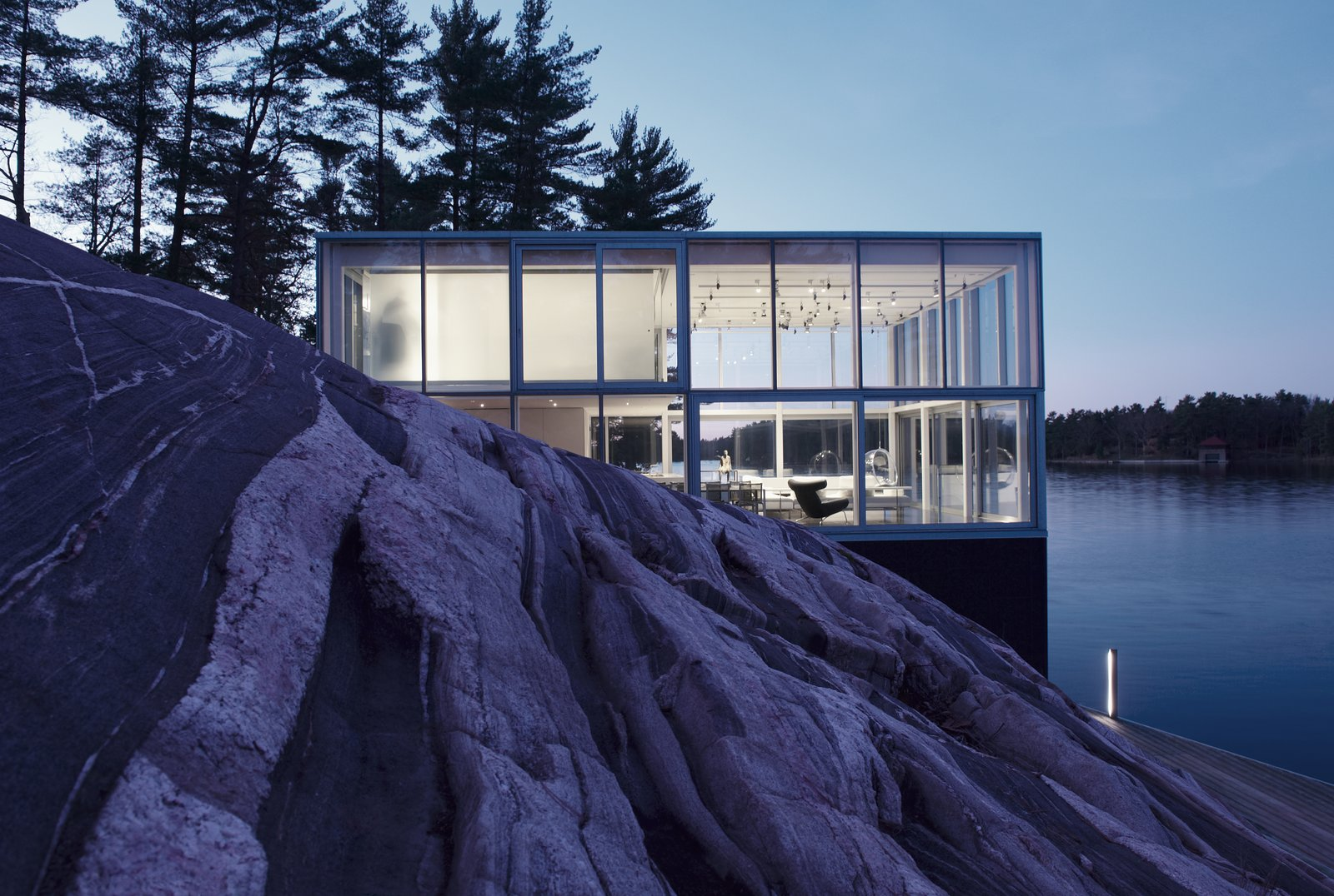 Exterior, House Building Type, Glass Siding Material, and Flat RoofLine  Best Photos from This Mesmerizing Glass House Is Also a Photographer's Lakeside Studio