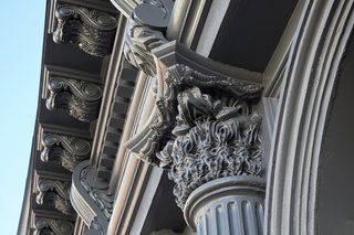 A detail of a new column capital reveals how historic proportions were replicated through new technology.