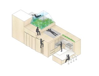 "An isometric drawing demonstrates the ""bonsai"" space, complete with seating and an herb garden, perched above the built-in storage and kitchen."