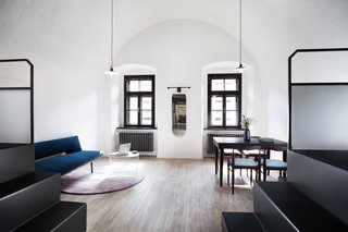 A Stylish Hostel in a Historic Czech Fortress Starts at $16 a Night - Photo 7 of 19 - The 4 Dorm is a spacious, apartment-style dorm set up with two beds up top, and two beds below, in addition to a private living area.