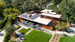 A rooftop solar array increases the energy efficiency for the residence.