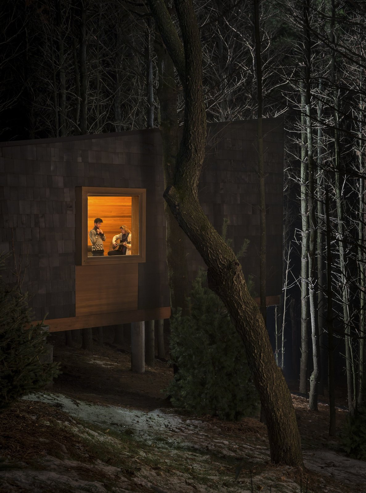 Exterior, Shed RoofLine, Wood Siding Material, and Cabin Building Type  Photo 5 of 8 in Camp in Style at This Trio of Cedar-Clad Cabins in Minnesota