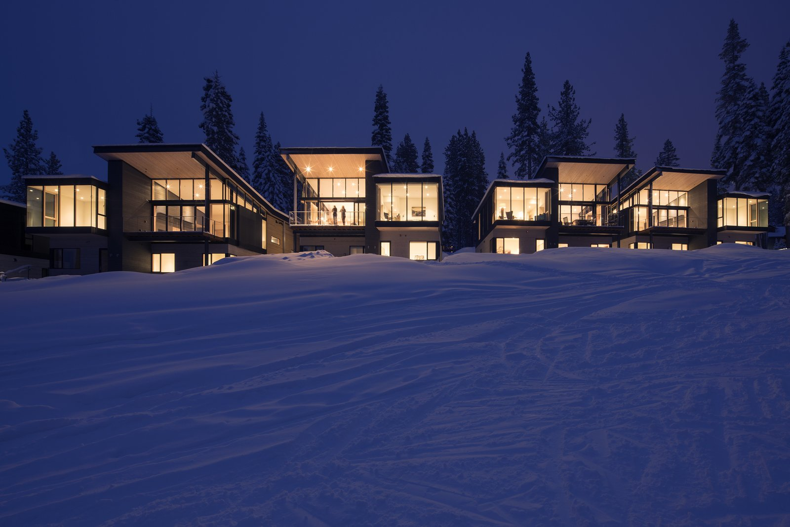 Exterior, Metal Roof Material, Glass Siding Material, Wood Siding Material, Cabin Building Type, and House Building Type  Photo 11 of 11 in These Contemporary Lake Tahoe Chalets Have Ski-In, Ski-Out Access