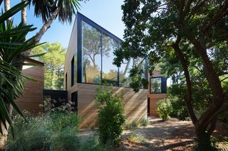Large spans of glass look out on the surrounding lush vegetation.