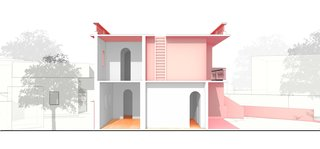 These Pink and Blue Homes Use Gender as a Metaphor For Urban Revitalization - Photo 17 of 17 - A diagrammatic building section of Her House reveals white spaces with tall, arched passageways.