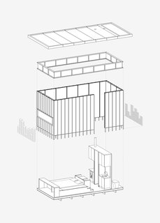 This axonometric drawing explains the building components that create the cabin, including everything from the floor plate and slate cladding, to the lantern of windows and up to the roof.