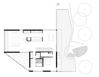 Here's the upper-level floor plan that includes the master suite, kitchen, dining area, and living room.