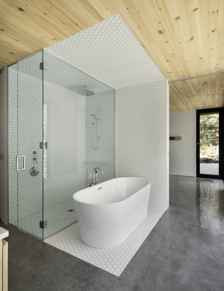 White, hexagon tiles frame the shower and tub in the master bath. On the opposite wall, full-height glazing connects the users directly with the landscape.