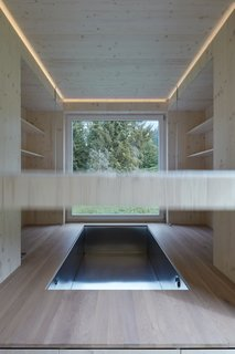 The movable bed rises up towards the ceiling to reveal a hidden jacuzzi below.