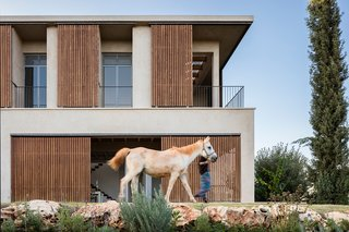 The home connects to the rural surroundings, reflecting the colors and textures of the scenery where horses graze and olive groves grow.