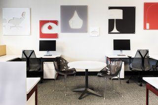 Open workstations combine with collaboration spaces.  Herman Miller Sayl Task Chairs provide just the right support for getting work done.