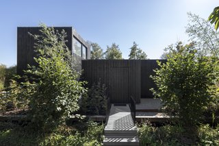 A simple boardwalk leads up to the timber-clad volume, which appears as a sculptural, black box upon entry.