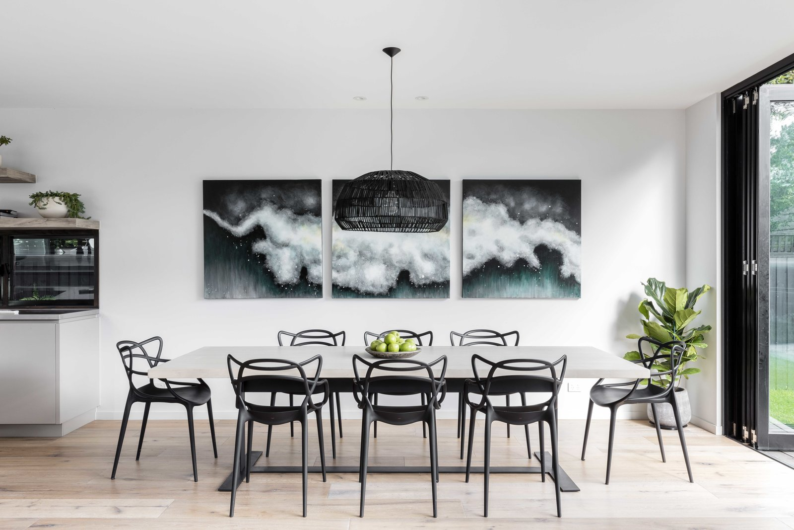 Tagged: Dining Room, Chair, Table, Pendant Lighting, and Light Hardwood Floor.  The Rose Bay House by Prebuilt