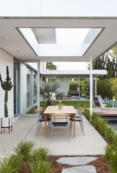 Outdoor, Back Yard, Grass, Trees, Gardens, Walkways, Hardscapes, and Concrete Patio, Porch, Deck  Santa Monica Residence