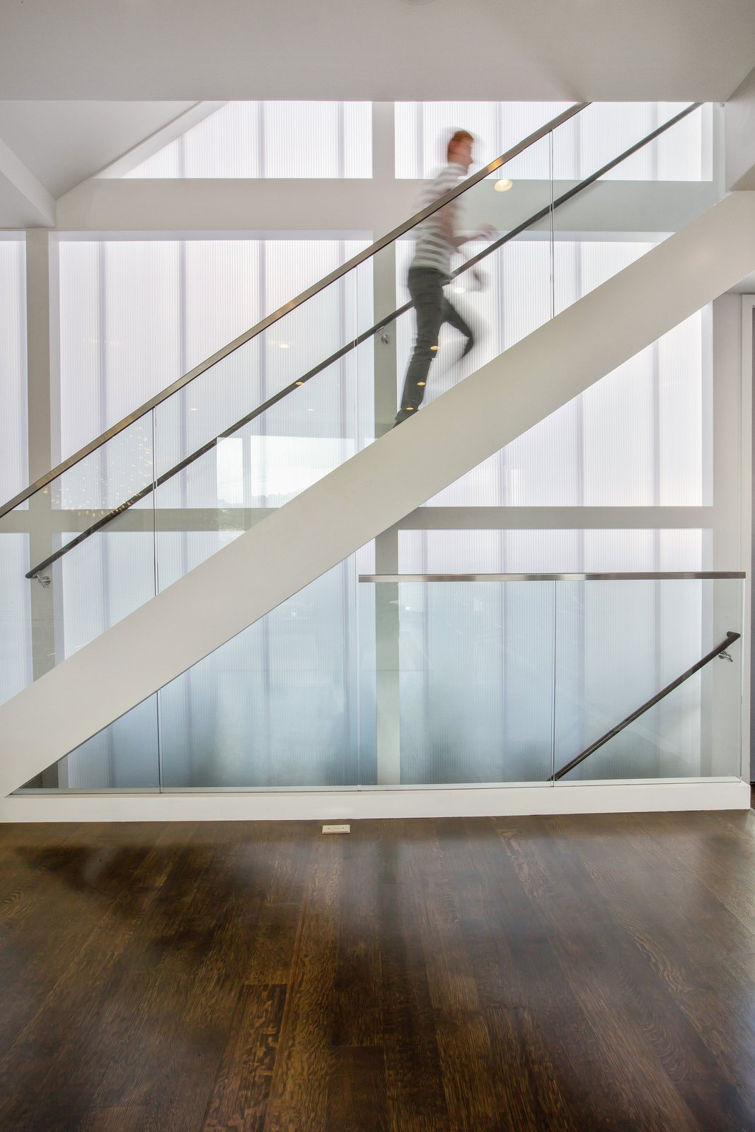 Staircase, Glass Railing, and Wood Tread  LEED Platinum House in SF by DNM Architecture