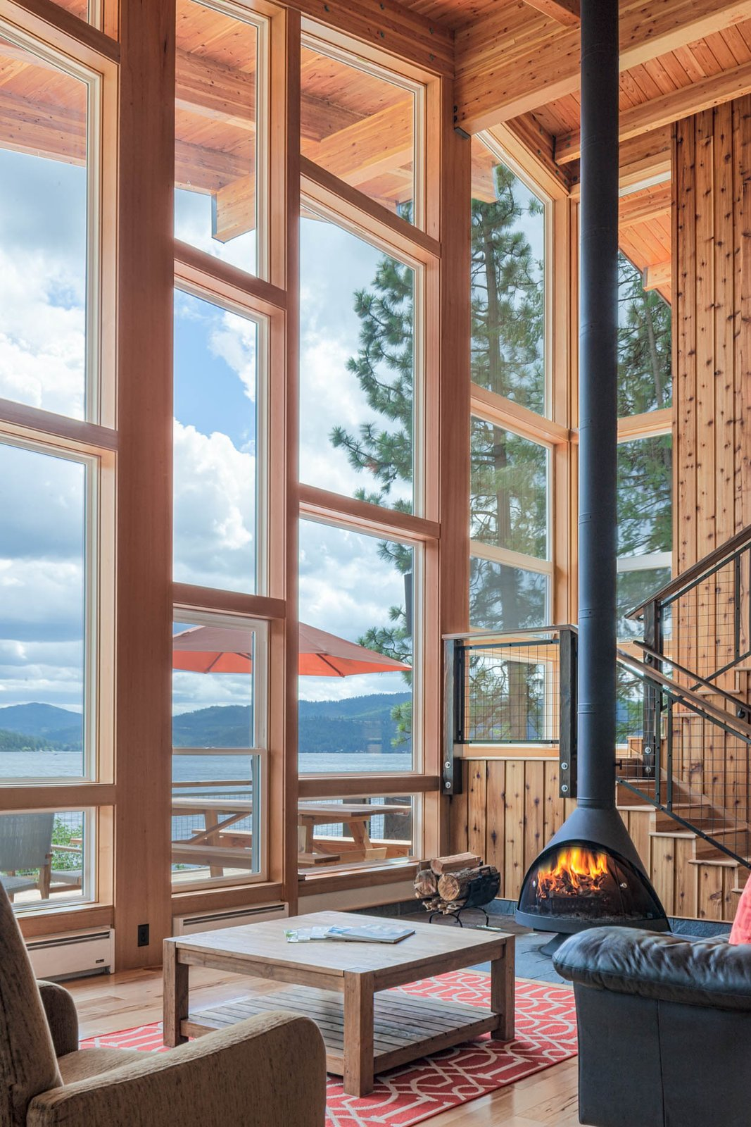 Light Hardwood, Wood Burning, Sofa, Coffee Tables, Chair, Windows, Wood, Metal, Sliding, and Picture  Best Windows Metal Light Hardwood Photos from Ferris Cabin