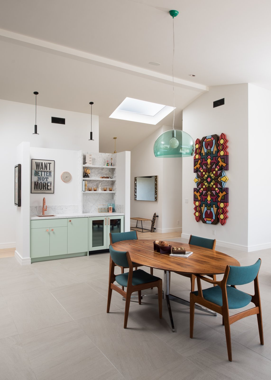 Dining Room, Chair, Table, Ceiling Lighting, Pendant Lighting, Storage, Recessed Lighting, and Porcelain Tile Floor  1980s Modern Meets The New Millennium