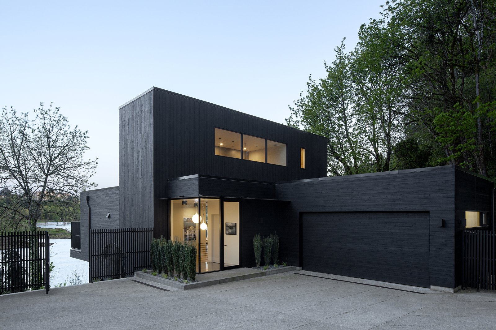 Exterior, House Building Type, Wood Siding Material, and Flat RoofLine Entry  Best Photos