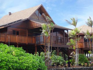 7 Hawaiian Prefabs and Kit Homes - Photo 5 of 7 - This prefab home is comprised of three structures that are connected by a large wrap-around deck. The walls are finished in mango wood.
