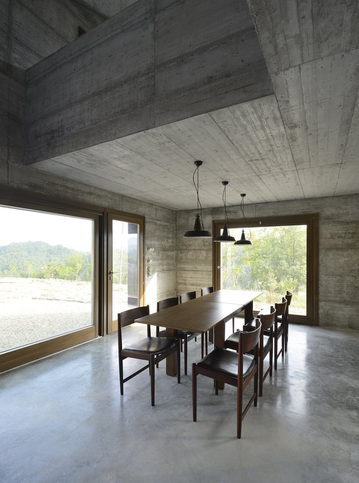 Dining Room, Table, Ceiling Lighting, Chair, Concrete Floor, and Pendant Lighting  HOUSE R