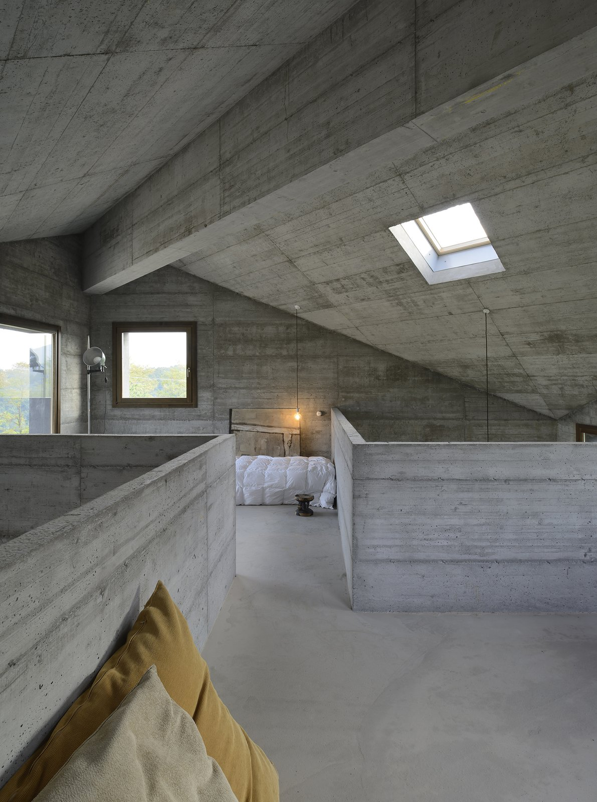 Bedroom, Bed, Pendant Lighting, and Concrete Floor  HOUSE R