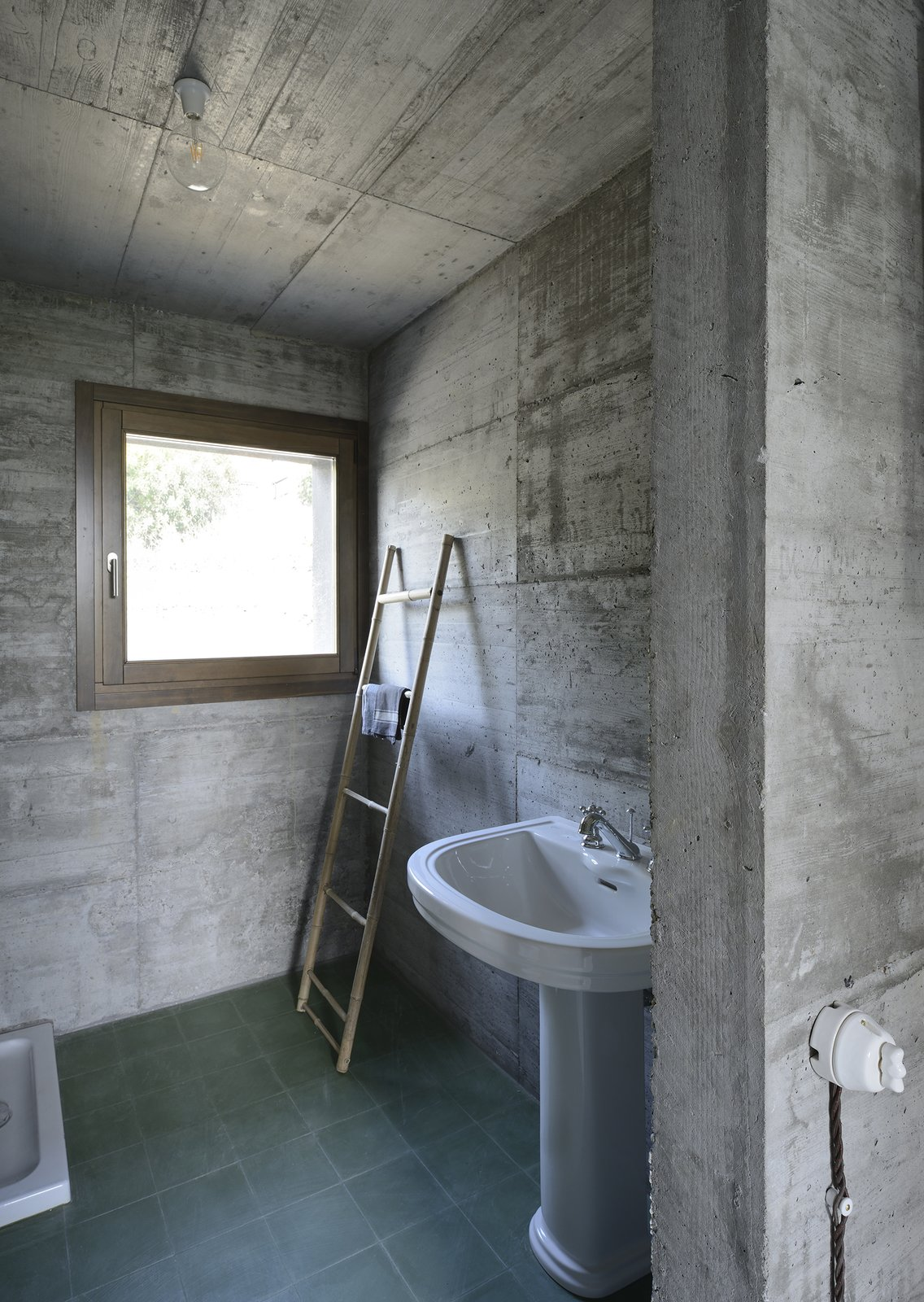 Bath Room, Concrete Counter, Stone Counter, Wood Counter, Concrete Floor, Freestanding Tub, Open Shower, Ceiling Lighting, Concrete Wall, and Two Piece Toilet  HOUSE R