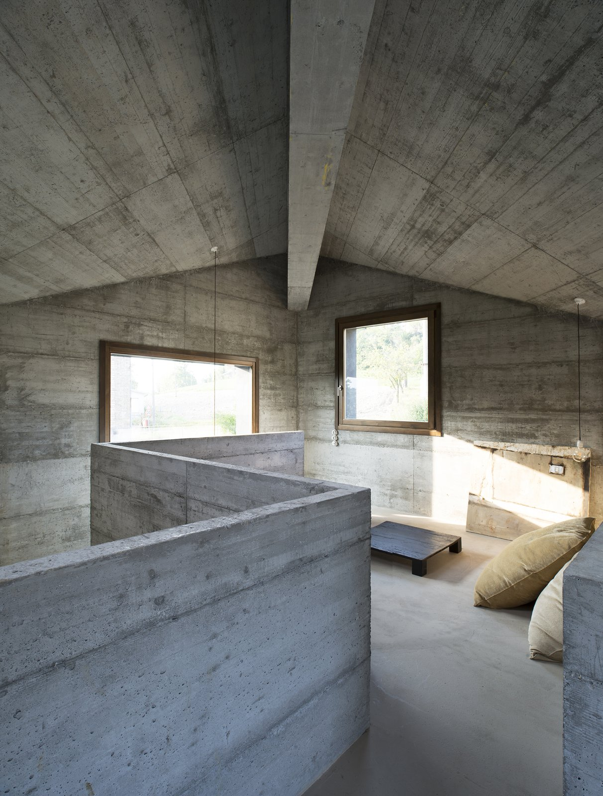Bedroom, Bed, Concrete Floor, and Pendant Lighting  HOUSE R